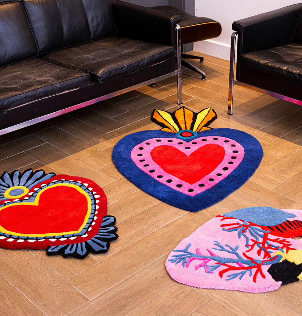W.A.GREEN | KITSCH KITCHEN | Blue and red milagro heart rugs and corazon rug. wagreen.co.uk