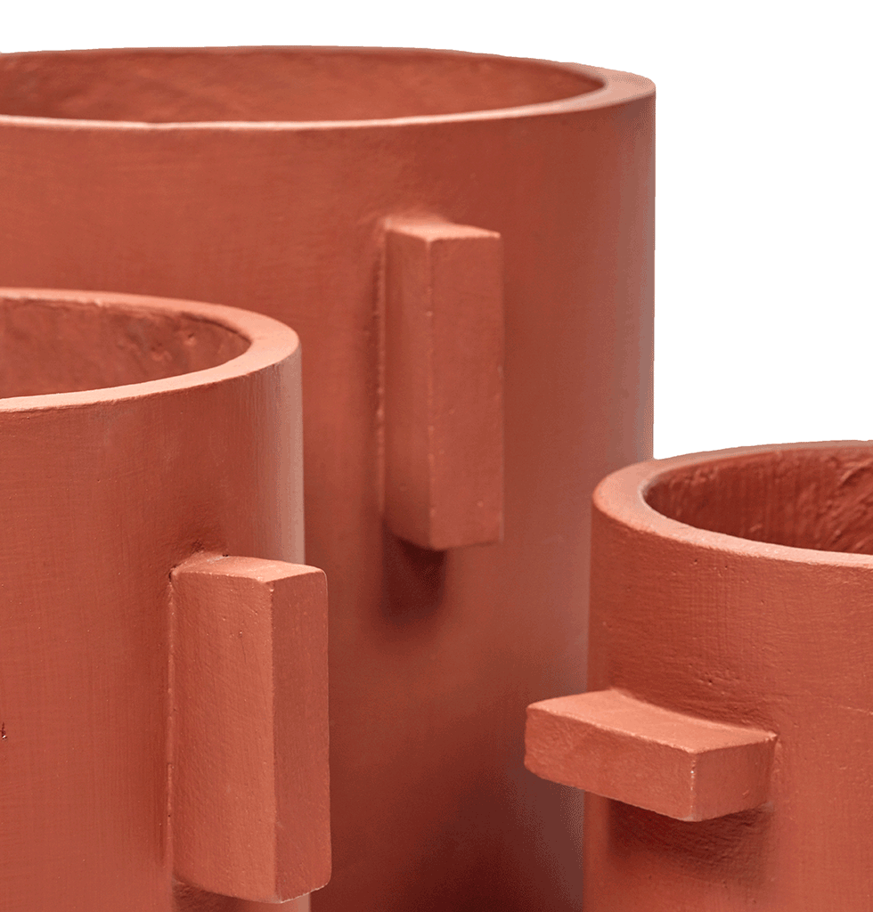 Red brown concrete indoor planters by Serax large