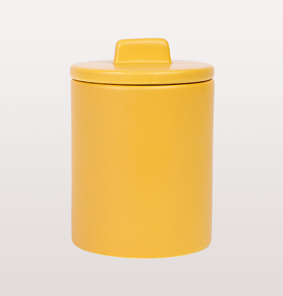 W.A.GREEN | KITSCH KITCHEN | Small retro storage jar in bright yellow. Perfect lidded jar in the kitchen for tea and coffee, in the bathroom for cotton wool pads or in the bedroom for hair bands, you'll love it. £28 wagreen.co.uk