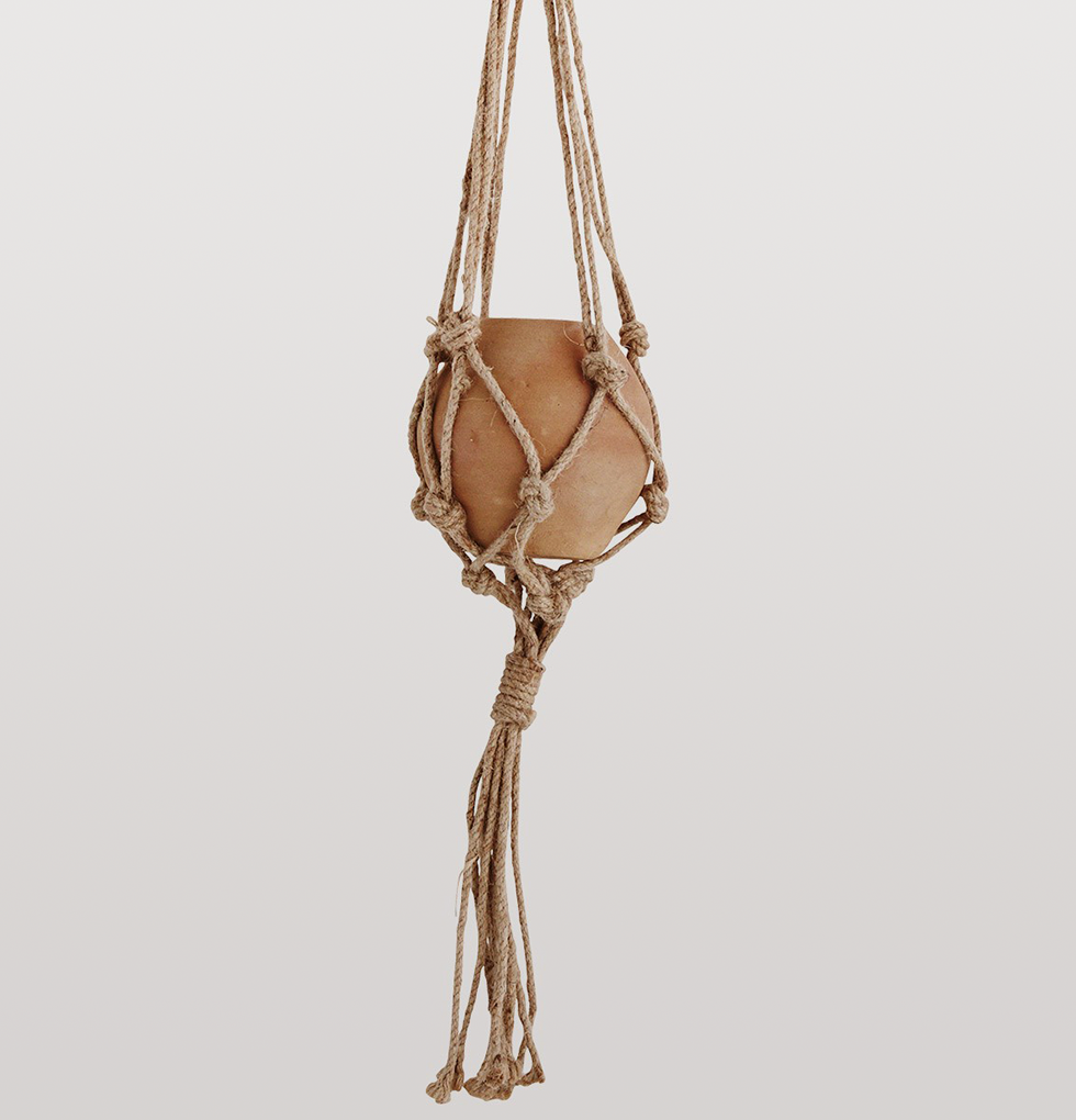 TERRACOTTA JUTE STRING HANGING PLANTER