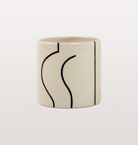 TOOSH BARE BOTTOM BLACK AND WHITE MINI ILLUSTRATED POT BY LOUISE MADZIA
