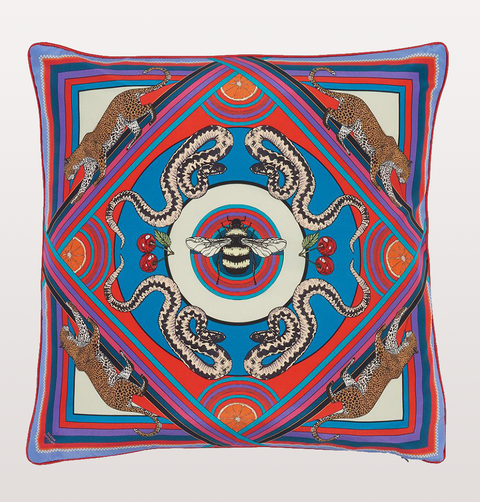 LARGE BLUE TRIPPY TOWN CUSHION