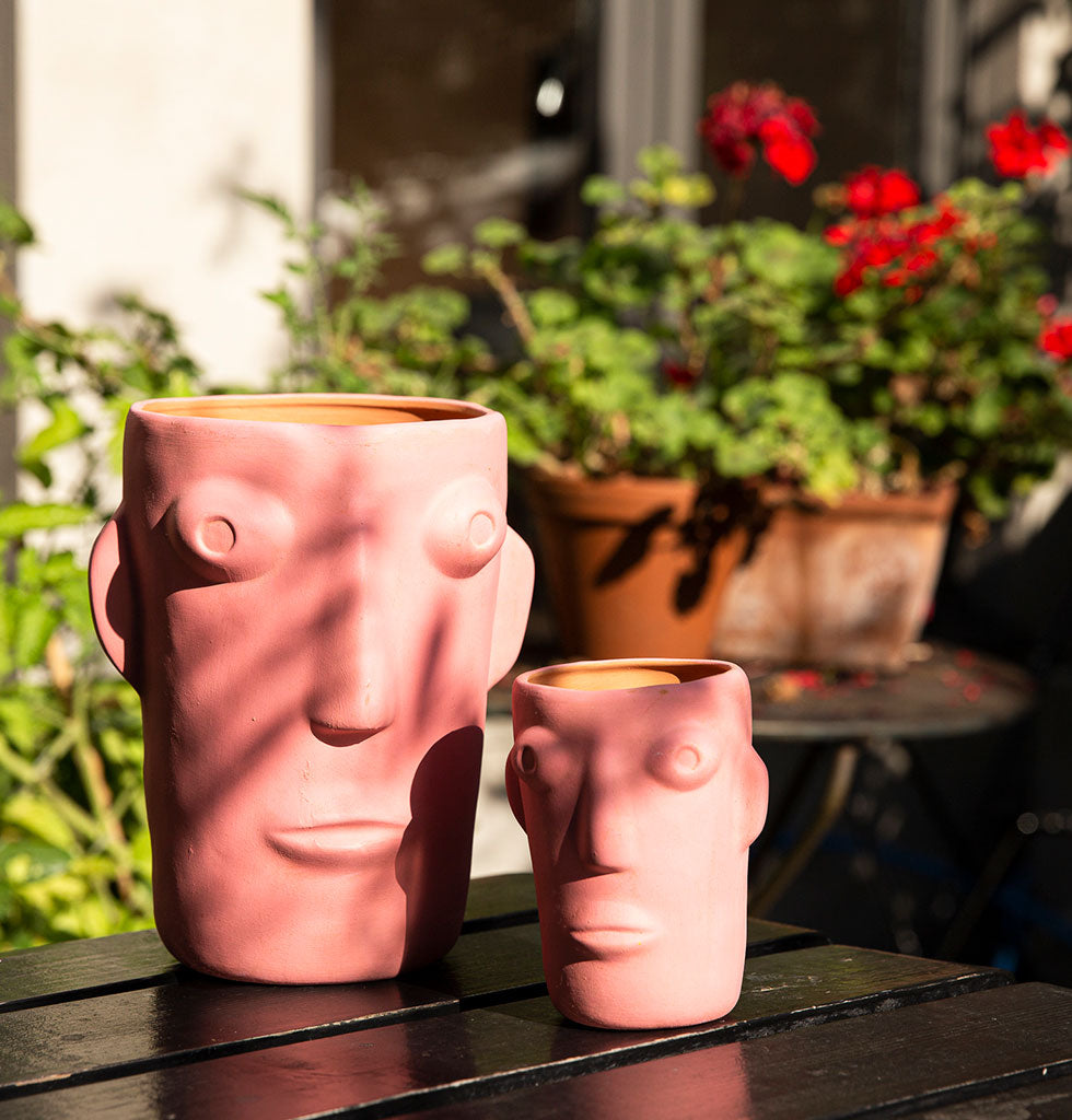 W.A.GREEN | KITSCH KITCHEN | Cabeza head face flower vase hot pink small and large. wagreen.co.uk