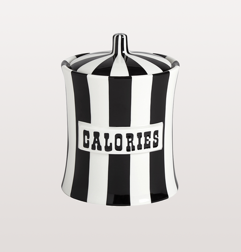 Calories black and white striped vice cannister jar by jonathan adler