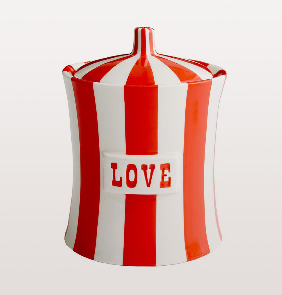 Love Vice Canister by Jonathan Adler in red and white stripes. £98 wagreen.co.uk