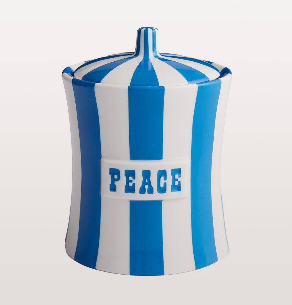 Peace Vice Canister by Jonathan Adler in blue and white stripes. £98 wagreen.co.uk