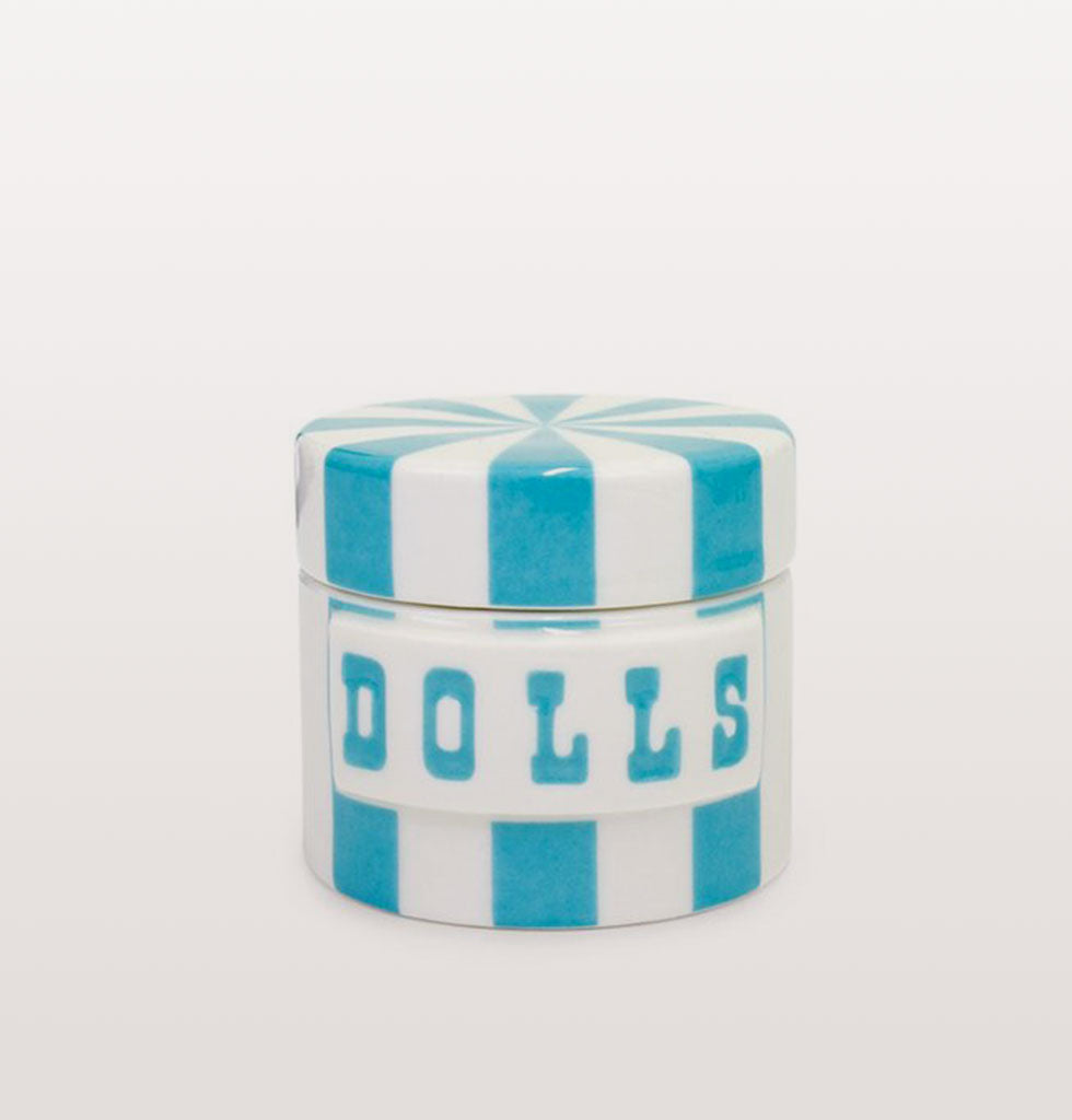 Dolls Vice Canister by Jonathan Adler in blue and white stripes. Extra Small £28 wagreen.co.uk