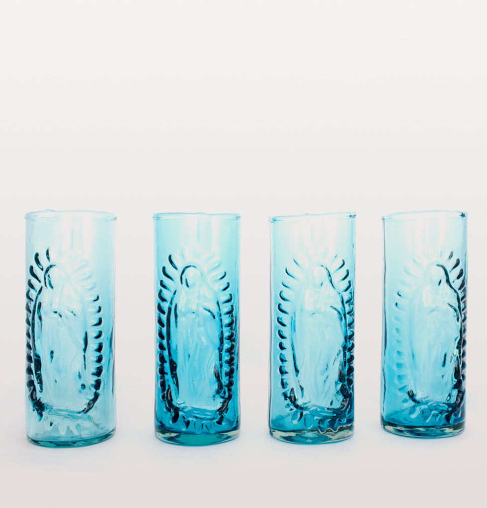 OUR LADY OF GUADALUPE BLUE GLASS SET