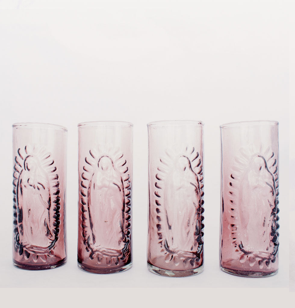 OUR LADY OF GUADALUPE GLASS PLUM SET