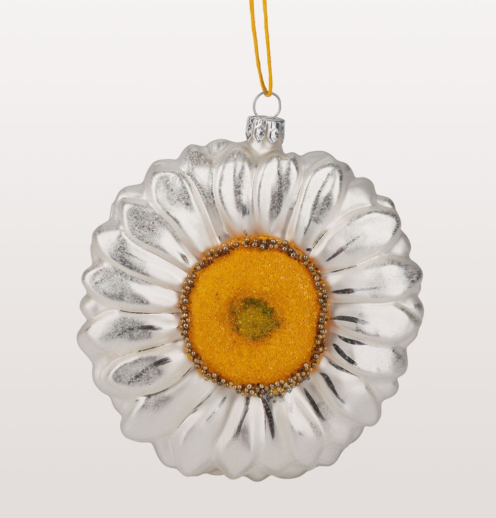 "This giant white, bright yellow and green oversized daisy flower is so positive and fresh. The stunning simplicity of this delicate flower radiates happiness and joy.  Large round daisy flower head in white, gold and green for a summery outlook.  W.A.Green says, ""A fresh way to decorate a modern Christmas tree""."