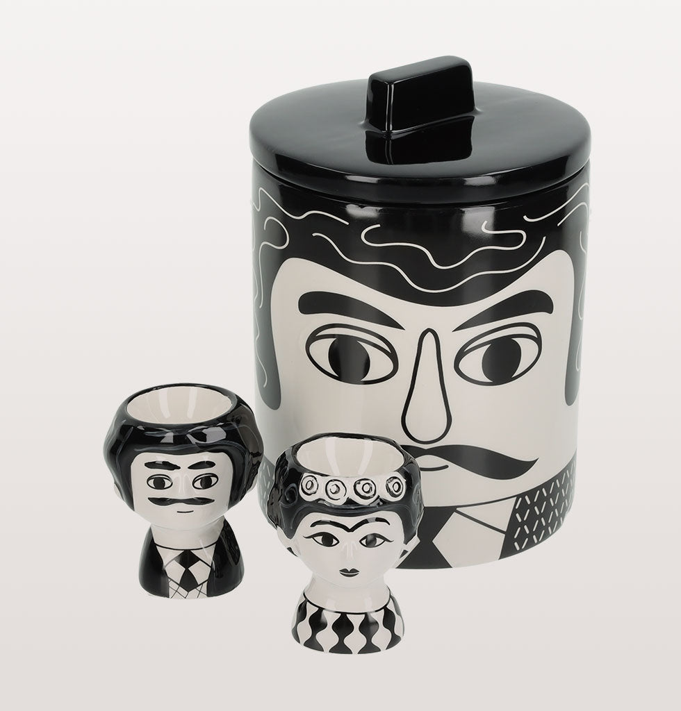 CARLOS BLACK AND WHITE STORAGE JAR