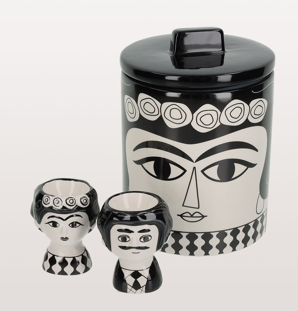 W.A.GREEN | MARISOL BREAKFAST SET | Kitsch Kitchen Marisol storage jar and black and white Marisol and Carlos egg cup set. £40 wagreen.co.uk