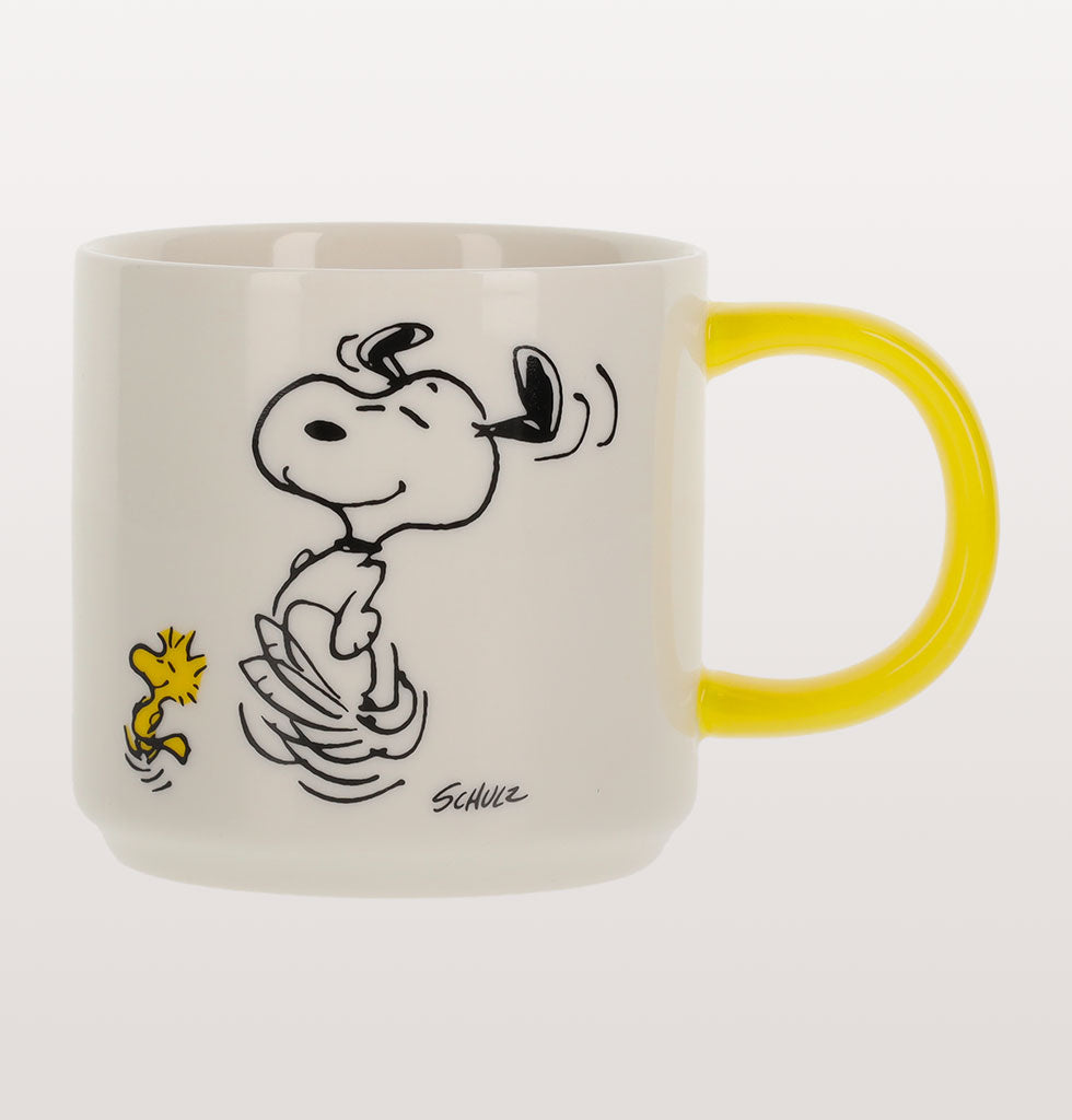 PEANUTS CARTOON TO DANCE IS TO LIVE SNOOPY MUG WITH YELLOW HANDLE