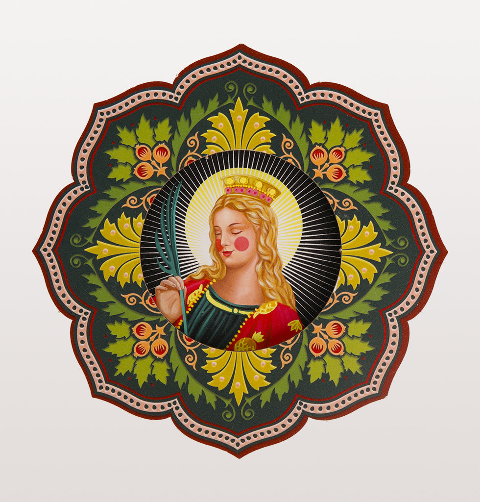 Santa Caterina  Meet the Patron Saints of Female Sass. We've always loved iconography and these bright colour blazing Christian Saints are our favourite new pop icons. Celebrating the creativity and beauty of women in all their glory.   All the single ladies...meet Saint Catherine, invoked in prayer for women looking for husband. Patron saint of philosophers, lawyers and cyclists. Who doesn't have a deep thinking friend looking for a soul mate? Professional protection for your bestie.