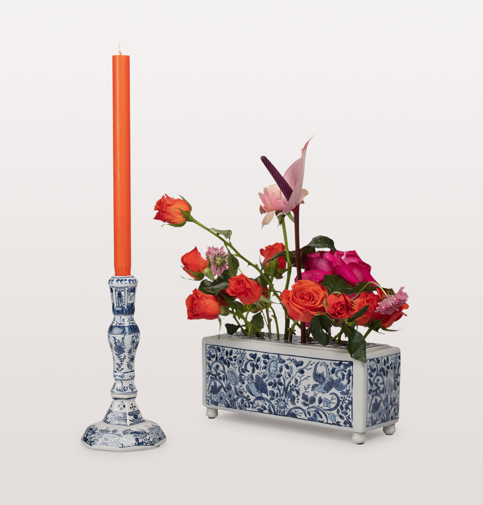 Simple and stunning table centrepiece vase. With space for 33 individual flower stems you can bring the magic of every season to your table or mantlepiece.  Designed by &K for the Rijksmuseum Amsterdam. The design is based on the Flowerholder, Faience style made in the Pottery 'De Grieksche A', Delft 1690-1700. Characterised by the pagoda shape and 17th century Delft Blue decorations. This vase is painted by hand and crafted in fine porcelain.