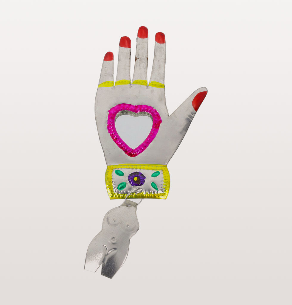 Pink heart and red nails Mexican miracle hand mirror. £21 wagreen.co.uk