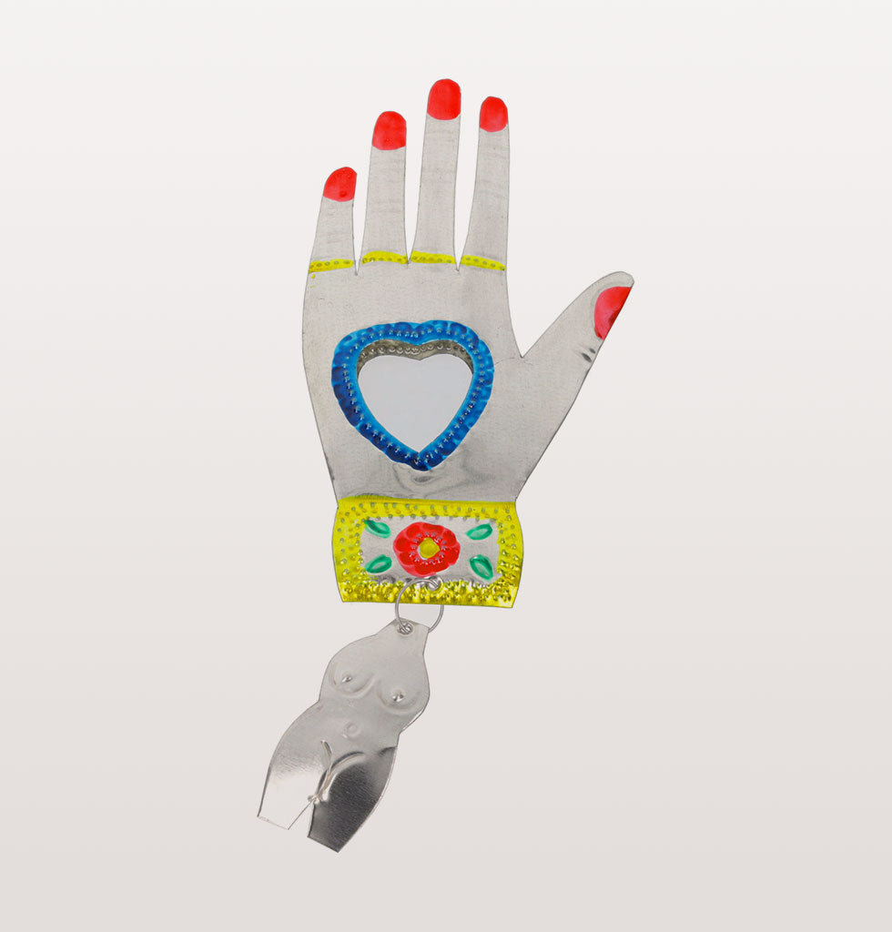 Blue heart and red nails Mexican miracle hand mirror. £21 wagreen.co.uk