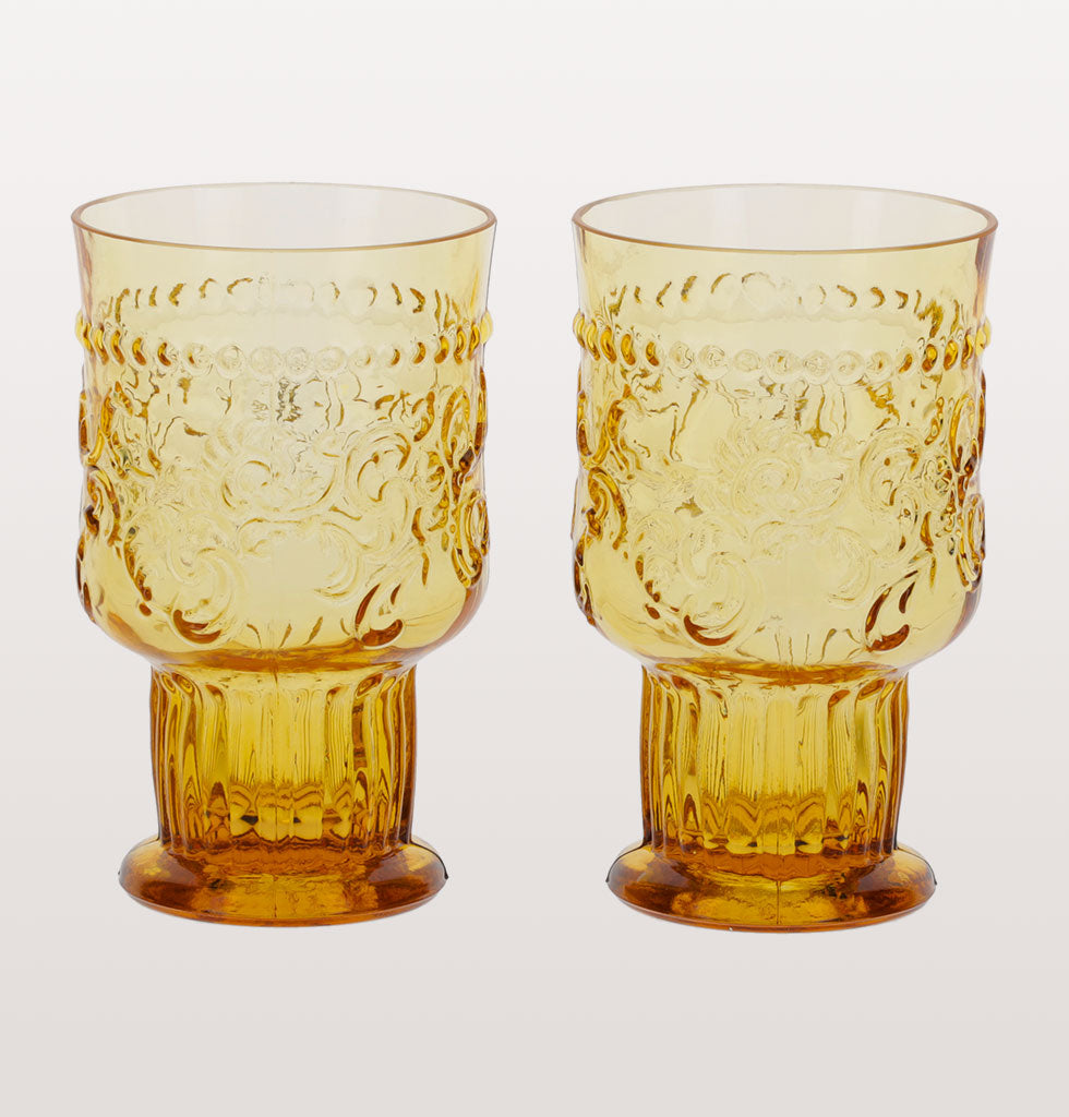 Van Verre amber fleur de lys small goblet set of 2. £18 wagreen.co.uk
