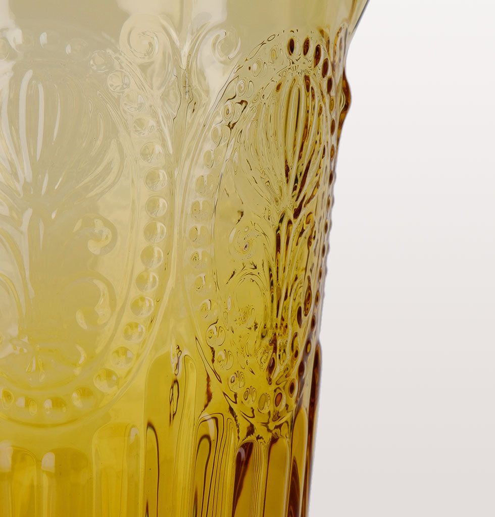 Close up of yellow fluer de lys glass jug. Made in Portugal by Van Verre.