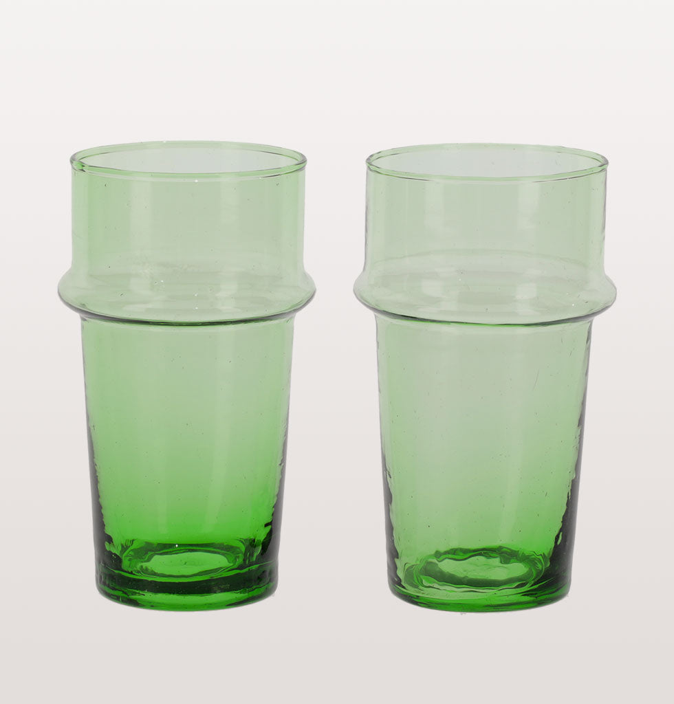 Set of two glasses. Made from recycled glass this unusual green water or table glass is hand crafted in Morocco.