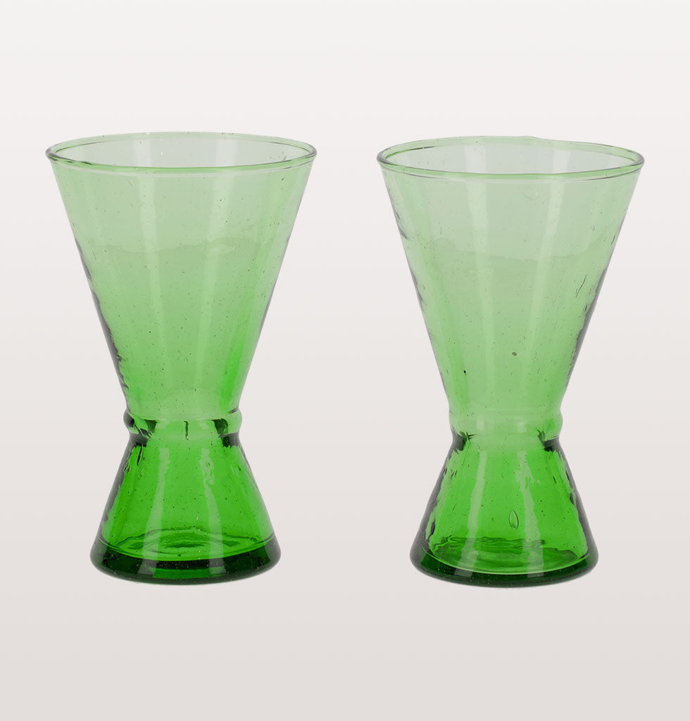 Beldi Moroccan green recycled glass wine glasses. Funnel shaped design by Madam Stoltz. £28 wagreen.co.uk
