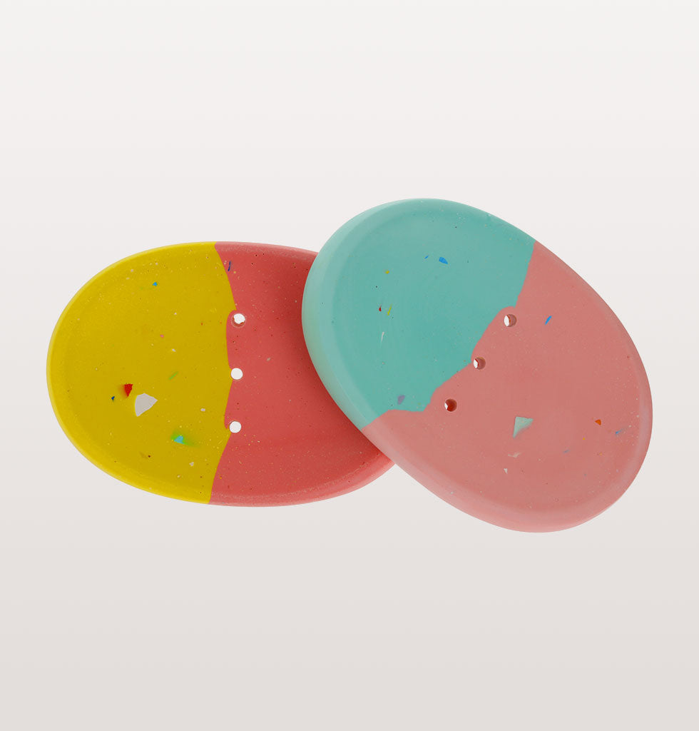 W.A.GREEN x Concrete Candy soap dishes. Yellow and Pink/Blue and Pink. £25 each wagreen.co.uk