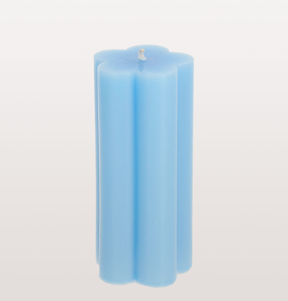 W.A.GREEN | Tangerine Collective blue daisy pillar candle. wagreen.co.uk