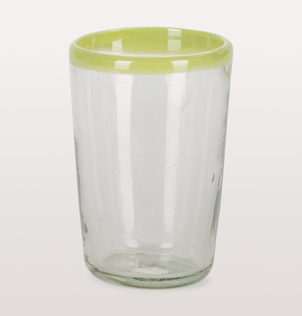 LIME GREEN RIM CLEAR TUMBLER SET
