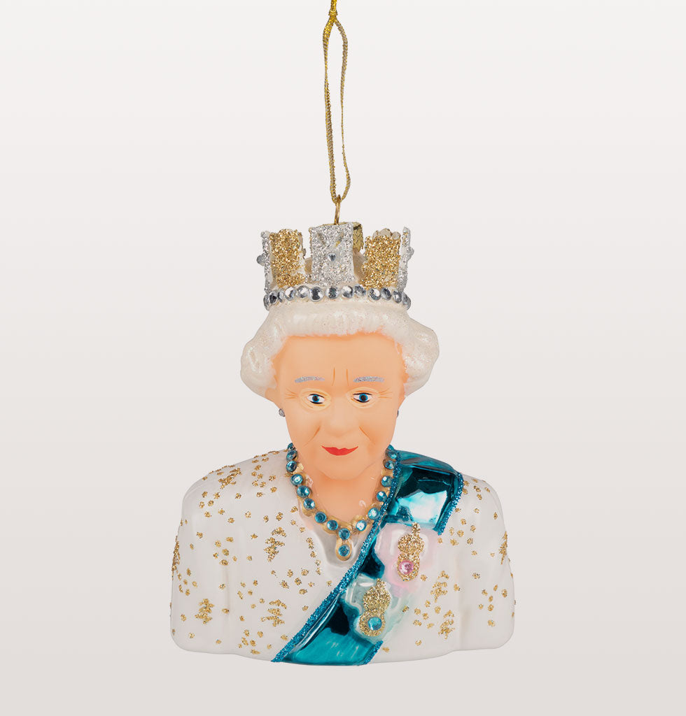 Her Royal Majesty, Queen Elizabeth II. House of Windsor Christmas Decoration wearing crown and royal sash
