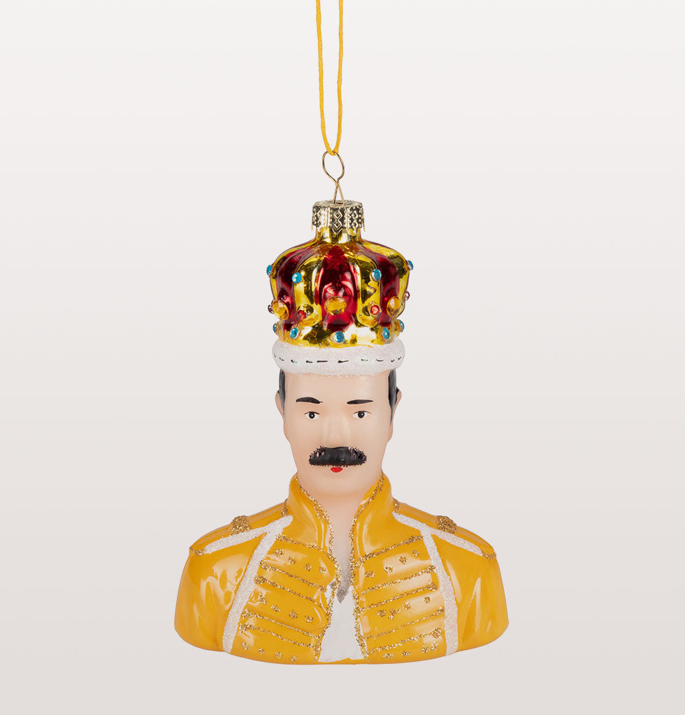 QUEEN FREDDIE MERCURY CHRISTMAS DECORATION IN YELLOW LIVE AID JACKET AND CROWN
