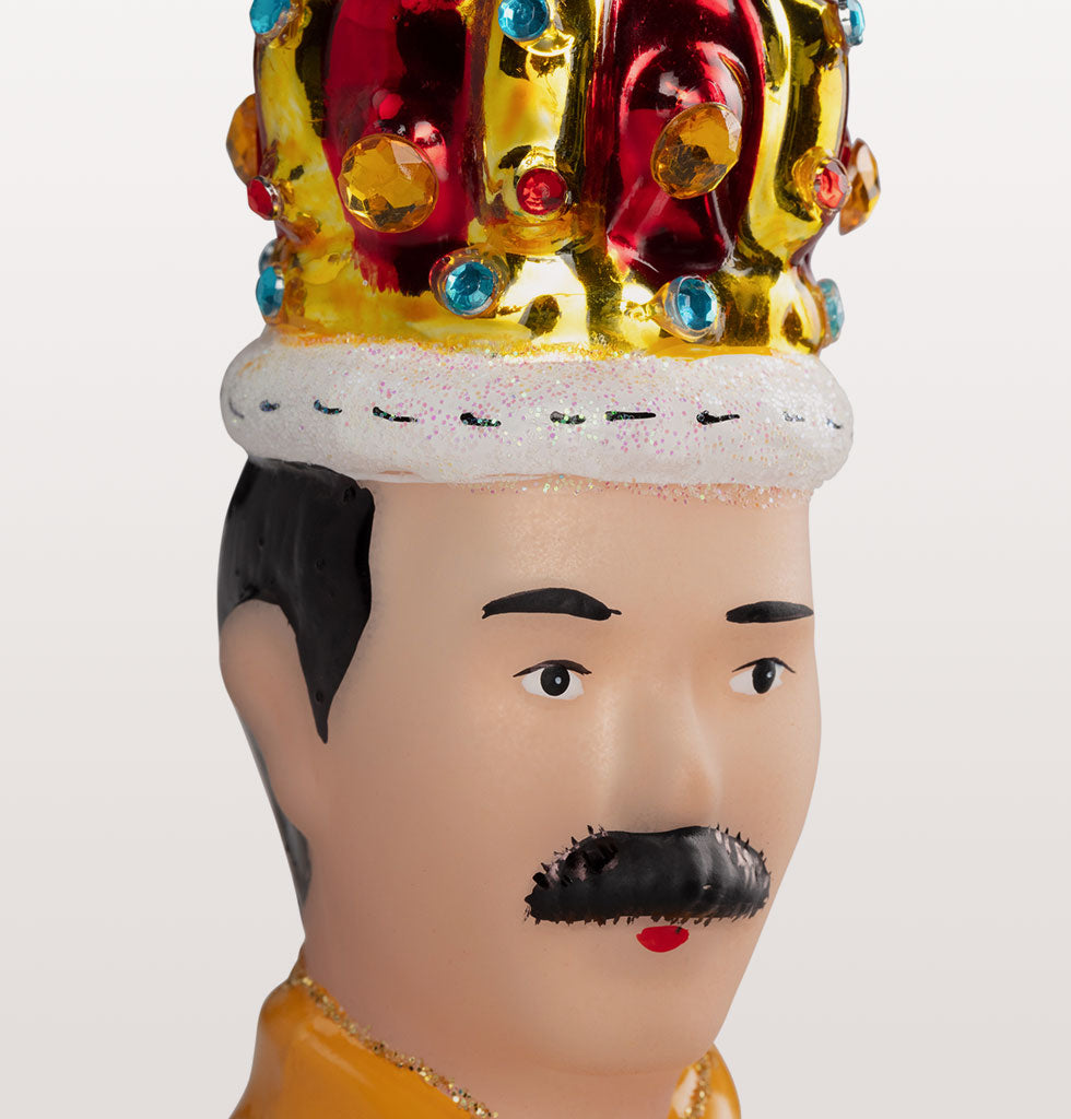 CLOSE UP QUEEN FREDDIE MERCURY CHRISTMAS DECORATION IN YELLOW LIVE AID JACKET AND CROWN