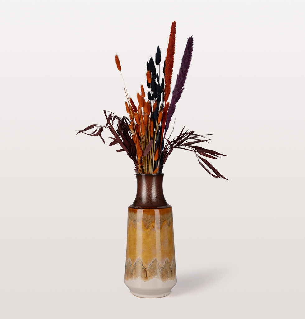 W.A.GREEN | MADAM STOLTZ | Hand tied ready made bouquet of flowers, featuring five bunches in dark orange and deep red shades from our natural dried flower collection. The bright orange bunny tails really adds a touch of the unexpected to this sultry natural bouquet.  September Song includes:  Black Bunny Tails | Orange Bunny Tails | Purple Foxtails | Orange Foxtails | Dark Red Eucalyptus. £45 wagreen.co.uk