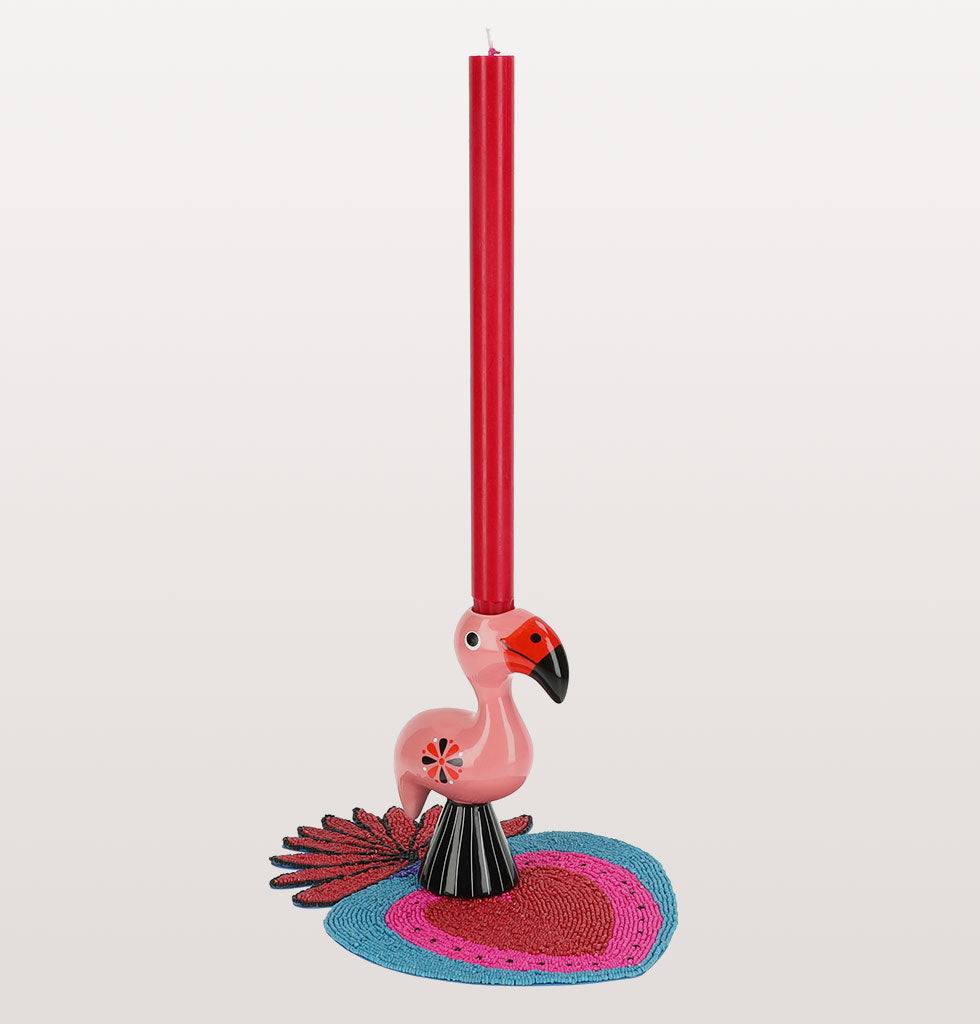 W.A.GREEN | KITSCH KITCHEN | Blue milagro tablemat, flamingo candleholder with candle. wagreen.co.uk