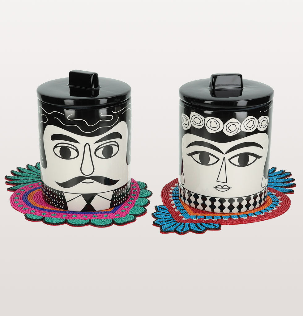 W.A.GREEN | KITSCH KITCHEN | Marisol and Carlos storage jars with pink and red milagro heart coasters. wagreen.co.uk