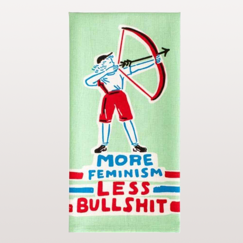 "BLUE Q, ""More feminism less bullshit"" quote. 100% cotton tea towel. Woman playing archery in lime green, red and blue design. Comedy homeware and dinnerware."