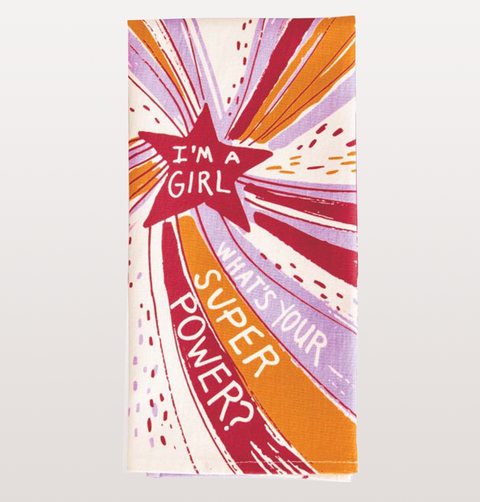 "BLUE Q,  Teatowel ""I'm A Girl, What's Your Super Power"" quote. 100% cotton multicoloured star and striped pattern. Feminist comedy gift. novelty dinnerware."
