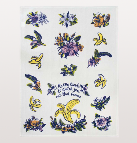 BLUE Q tea towel, No one wants to watch you eat that banana quote. 100% cotton, banana and floral print dinnerware