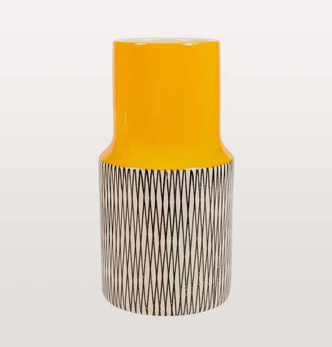 YELLOW JAFFA VASE WITH BLACK AND WHITE BASE