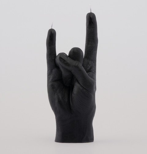 Beyond living, You rock, rock music horns candle. The hand made, rock star hand gesture is made from soy wax. Decorative, shelfie object.