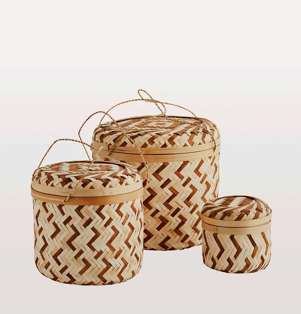 Round bamboo storage box set of 3 madam stoltz