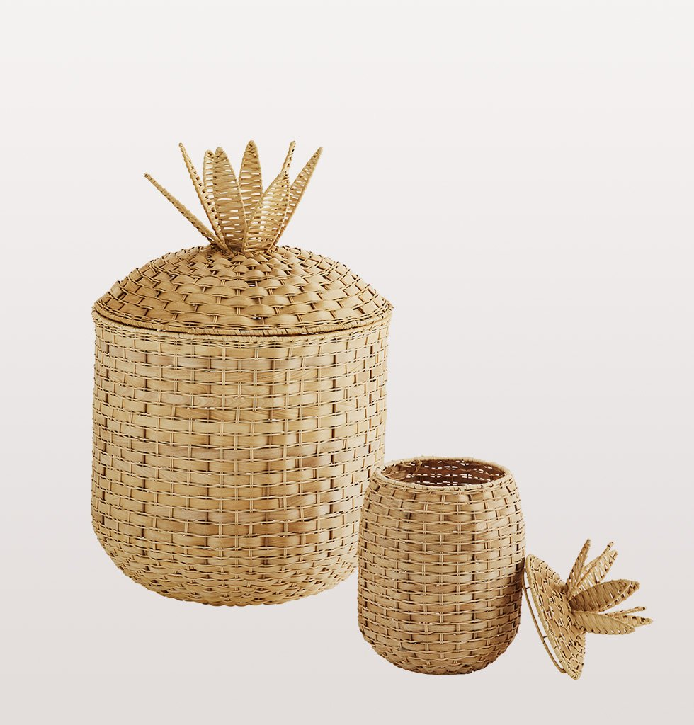 Pineapple shaped wicker basket in two sizes large and small by Madam Stoltz laundry
