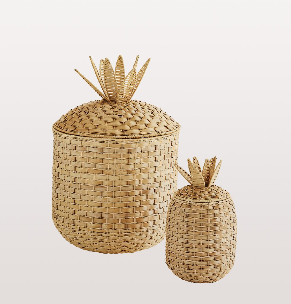Pineapple shaped wicker basket in two sizes large and small by Madam Stoltz