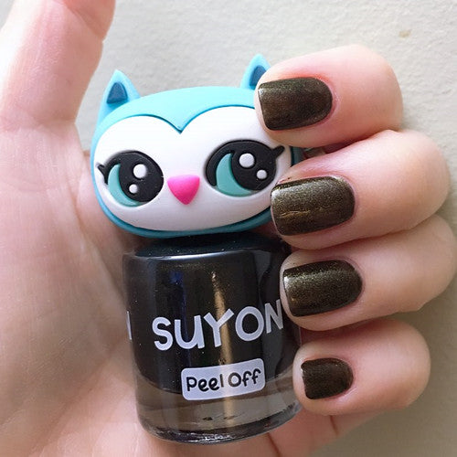 Kids Nail Polish - Awesome Owlia - Black & Gold Pearl