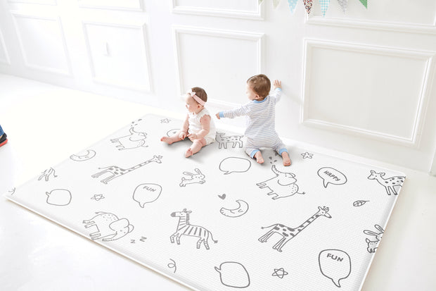 Parklon Reversible Pure Soft Play Mat - Animal Talk / Two-Tone Chevron