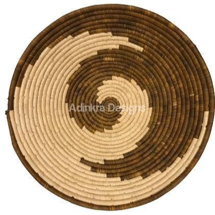 Afribeads Wall Baskets – Raffia Bowl 40cm - 10-Adinkra Designs