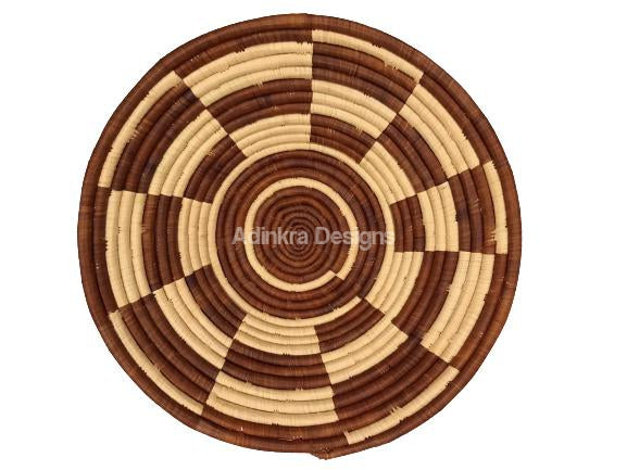 Afribeads Wall Baskets – Raffia Bowl 40cm - 14-Adinkra Designs