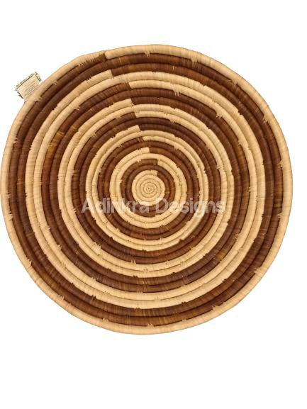Afribeads Wall Baskets – Raffia Bowl 20cm - 2-Adinkra Designs