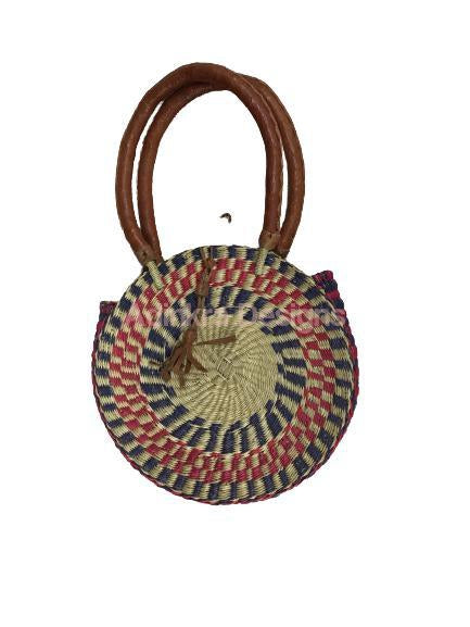Round Woven Bag - Colourful (Tan Handles)-Adinkra Designs