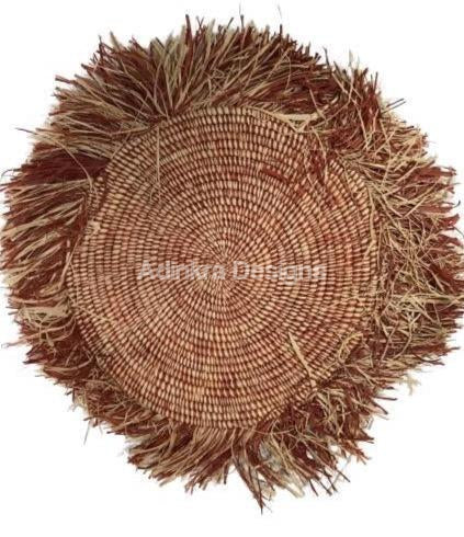 Afribeads Wall Baskets – Fringed Platter 50cm - 3-Adinkra Designs