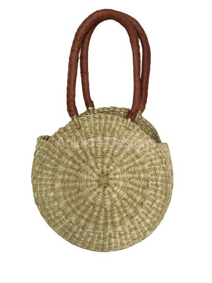 Round Woven Bag - Natural (Tan Handles)-Adinkra Designs
